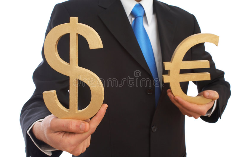Dollar and euro. Businessman holding Us dollar and euro signs on white, shallow dof royalty free stock photos