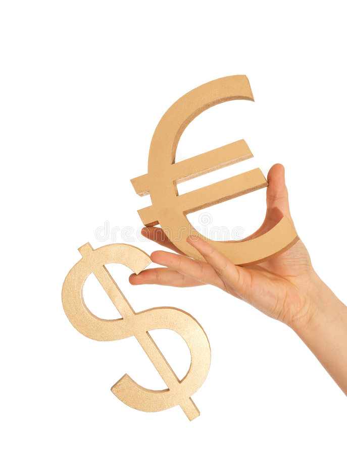 Dollar and euro. Dollar is falling and euro is steady stock photos