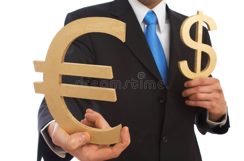 Dollar or euro. Businessman with dollar and euro signs on white, shallow dof royalty free stock photo