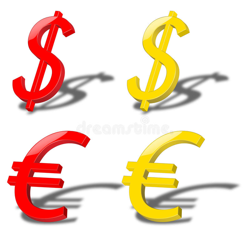 Download Dollar and euro stock vector. Image of icon, stock, light - 25985798