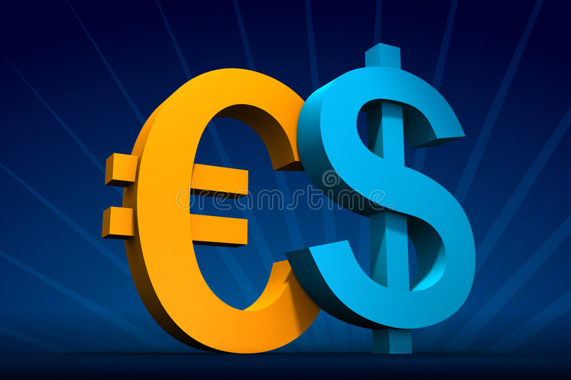 Dollar and Euro. Rendered blue Dollar and yellow Euro symbols on dark-blue with rays on back stock illustration