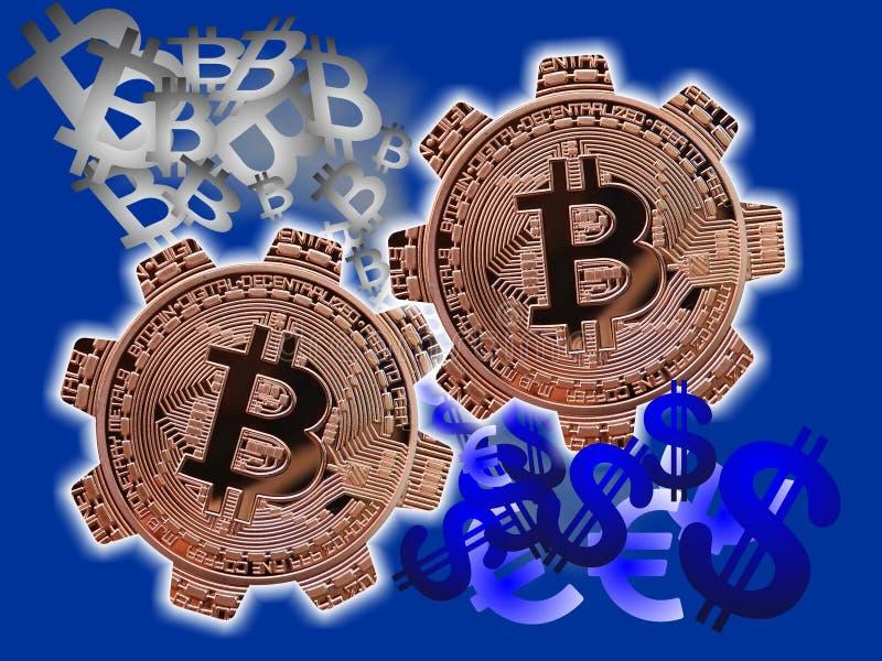 Dollar - Euro aan Bitcoin-molen stock illustratie