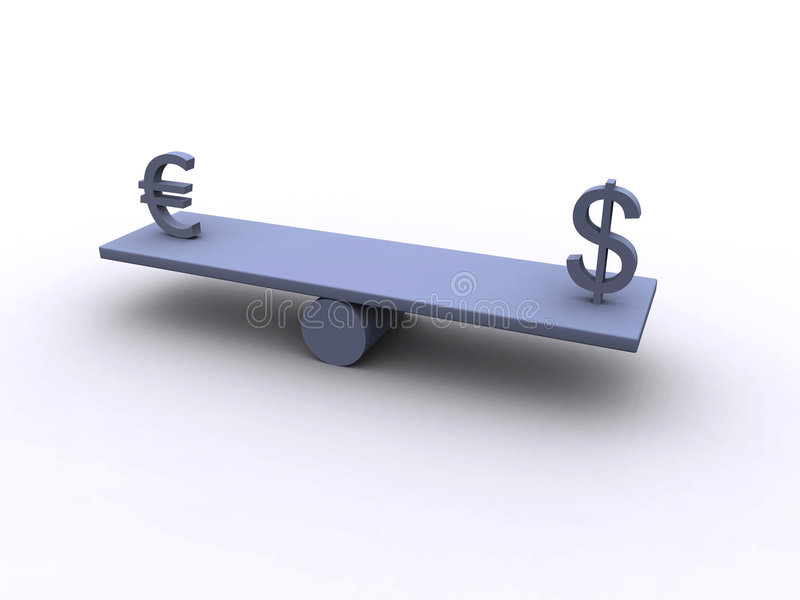 Dollar - Euro - Balance 1 stock images