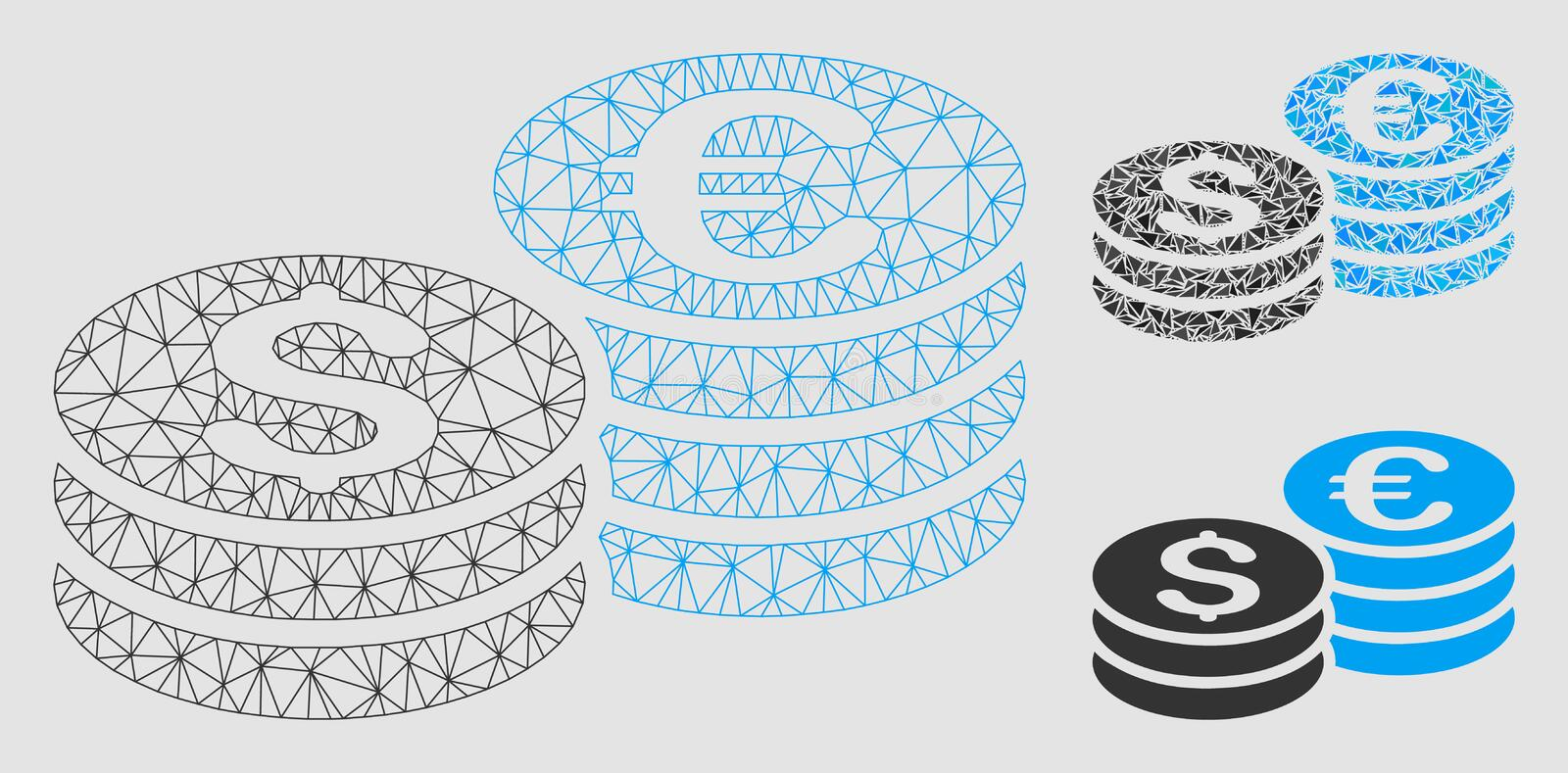 Dollar and Euro Coin Stacks Vector Mesh Network Model and Triangle Mosaic Icon royalty free illustration