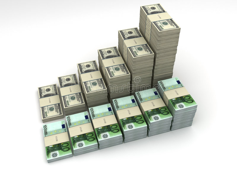 Download Dollar And Euro Currency Balance Graph Royalty Free Stock Photo - Image: 4850735