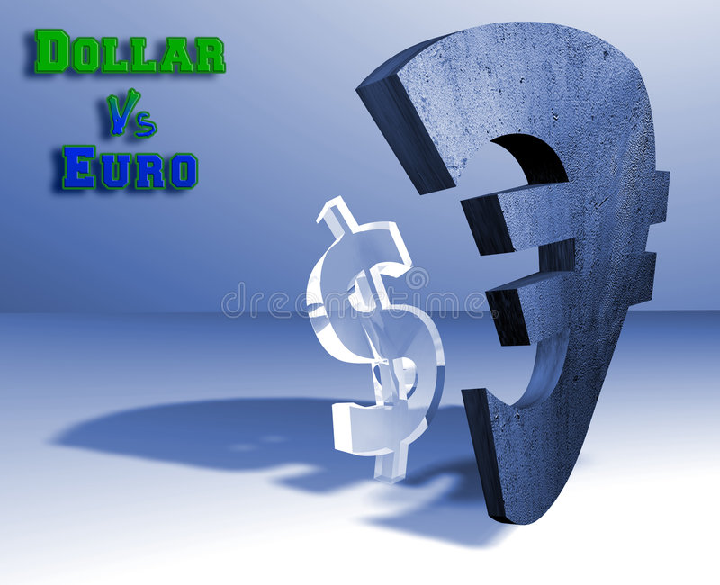 Dollar - euro currency concept. Concrete euro and glass dollar. Strong and weak economy concept vector illustration