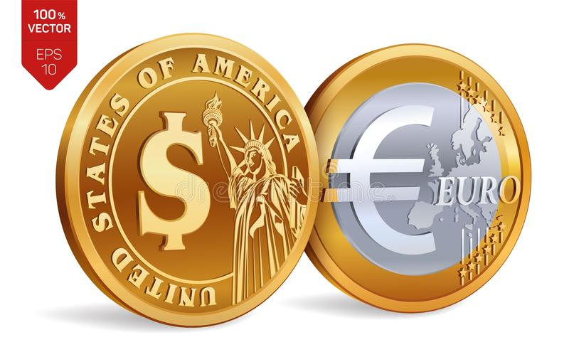 Dollar Euro 3d Isometric Physical Golden Coins With Dollar And