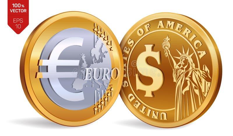 Dollar Euro isometrische körperliche goldene Münzen 3D mit Dollar- und Eurosymbol Amerikanisches Geld europäisches Geld Auch im c lizenzfreie abbildung