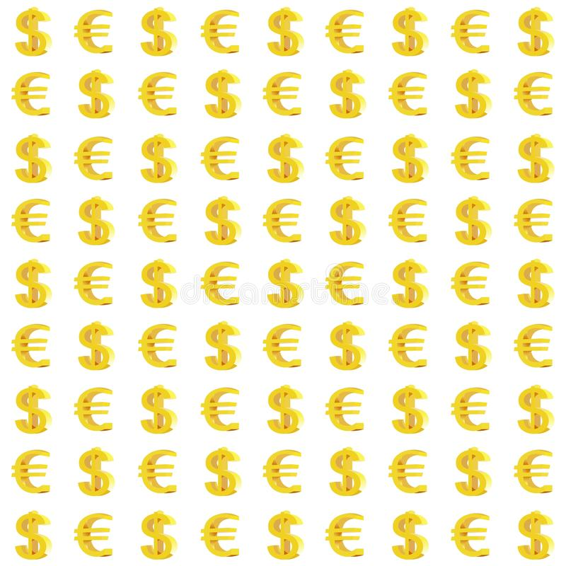 Dollar and Euro Monetary Signs Seamless Pattern stock illustration