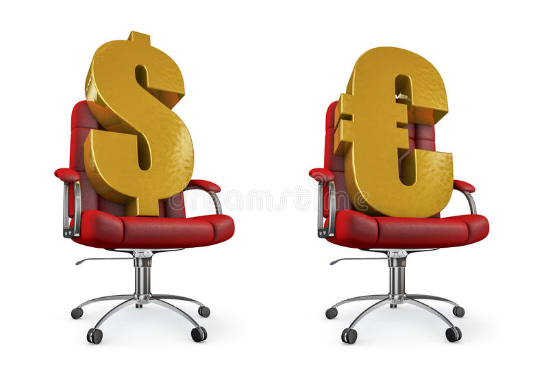 Dollar And Euro Office Chair Royalty Free Stock Photography