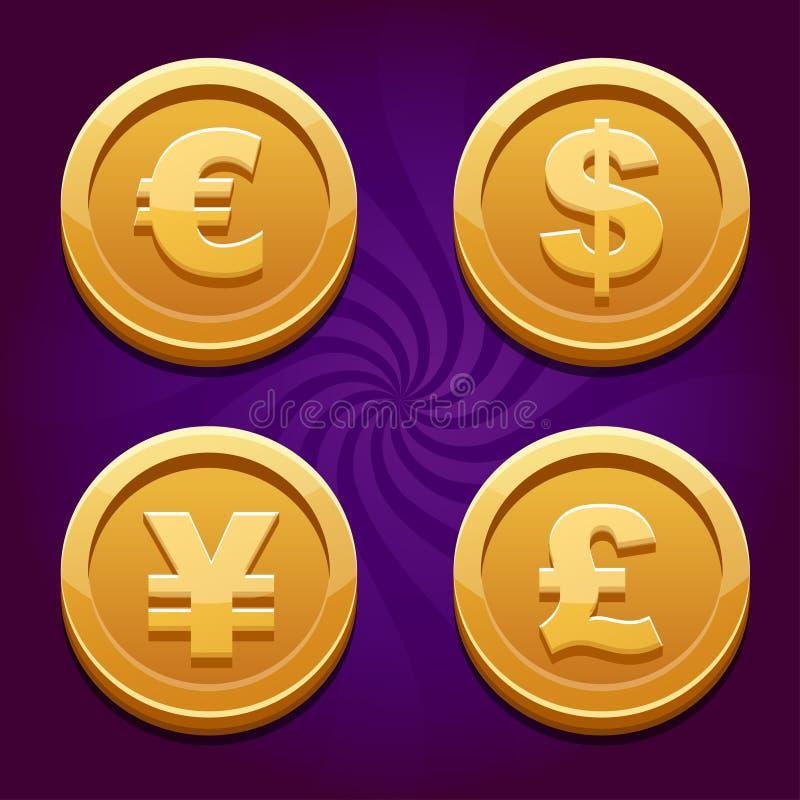 Dollar, Euro, Pond en Yen, gouden muntstukken stock illustratie