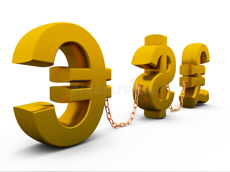 Dollar,euro and pound stock illustration