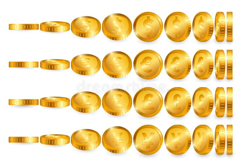 Dollar Euro Pound Yen Gold coins set isolated on white background. Vector illustration vector illustration