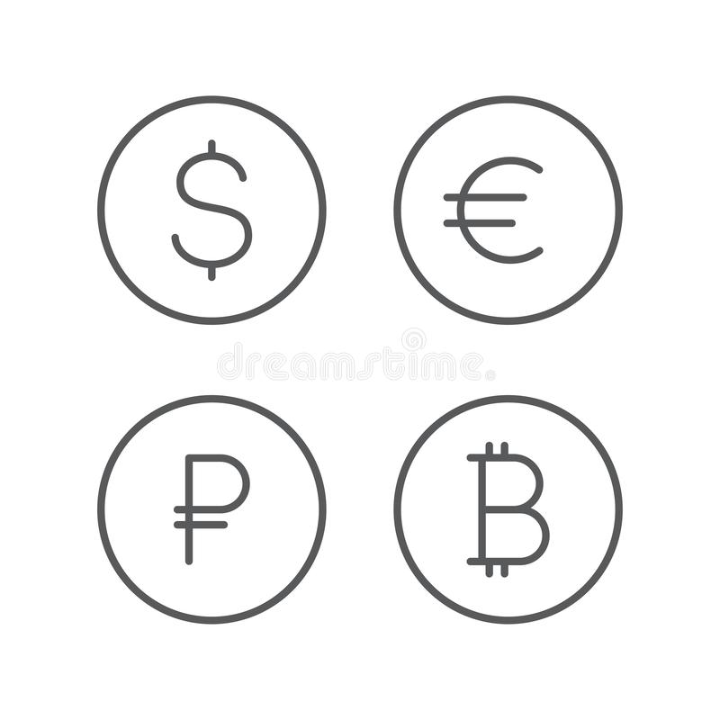 Dollar, euro, ruble, bitcoin icons. Currency sign set. Money cash isolated on background.  stock illustration
