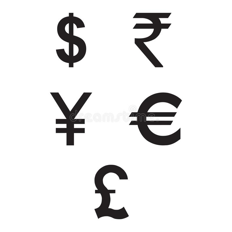 Dollar Euro Rupees Pound and Yen currency icons stock illustration