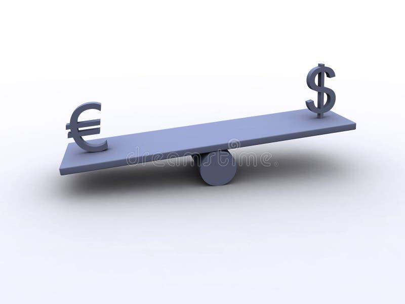 Dollar - Euro - Schwerpunkt 3 Stockbild