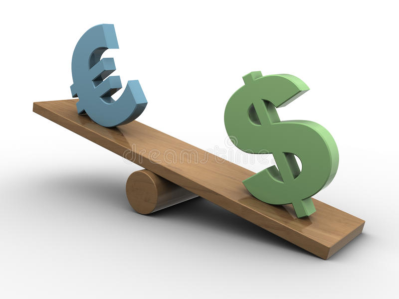 Download Dollar and euro seesaw stock illustration. Image of render - 30367080