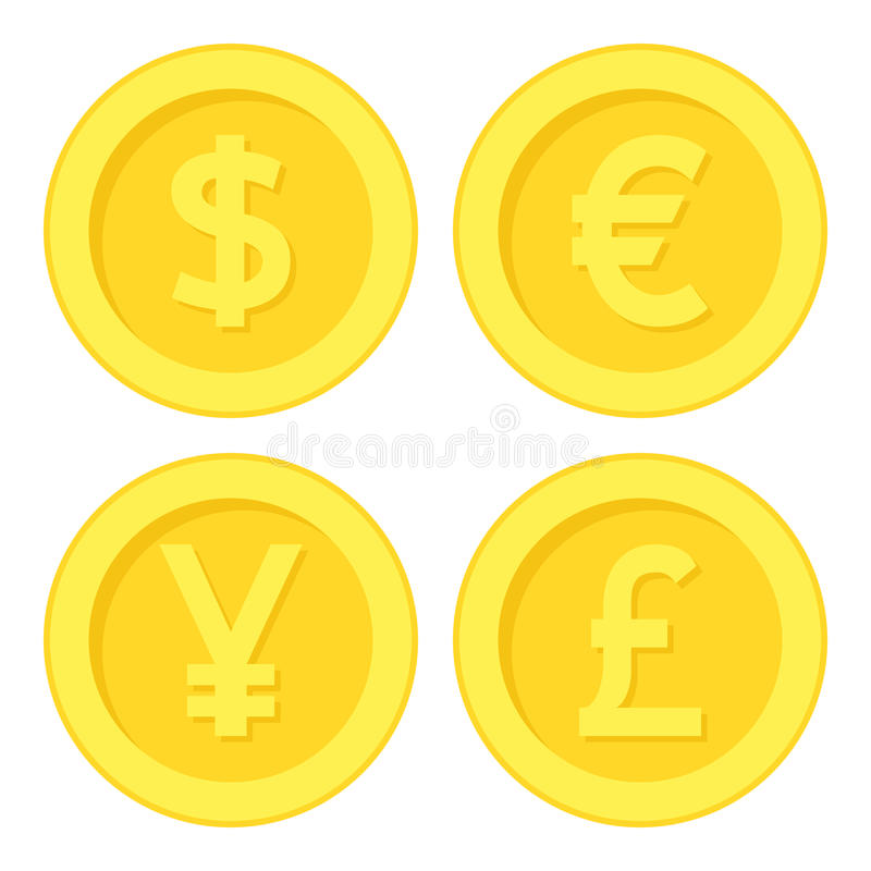 Dollar Euro Yen Pound Golden Coin Flat Icon. Golden coin flat icon with the symbols of the four mayor currencies, isolated on white background. Eps file vector illustration