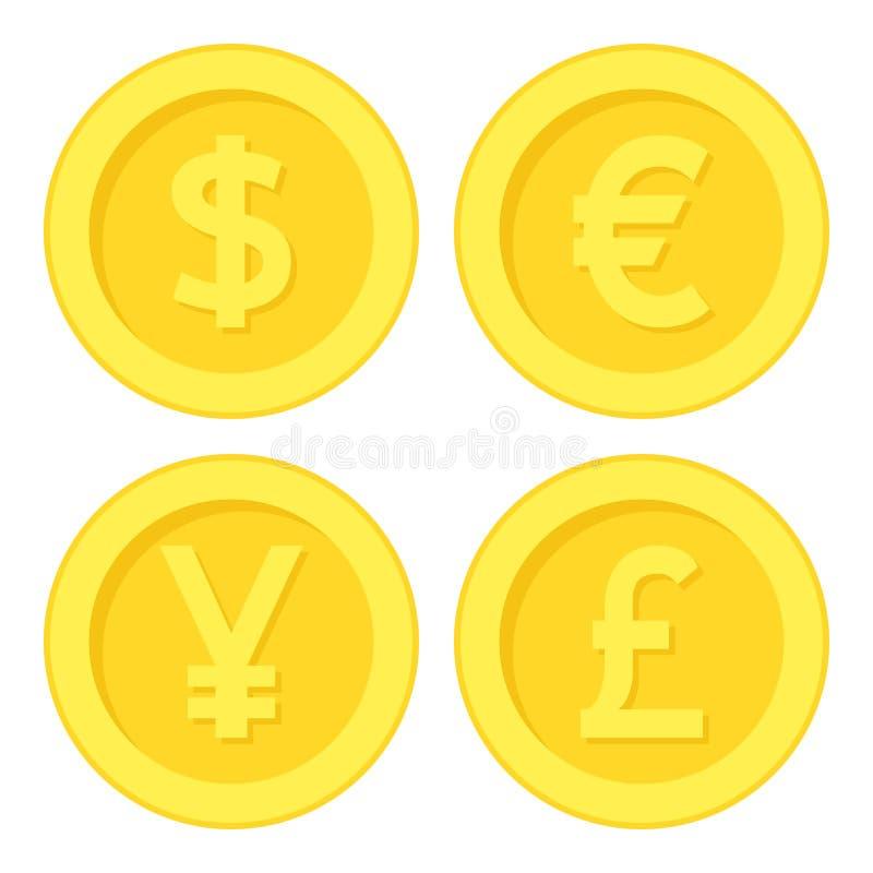 Dollar Euro Yen Pound Golden Coin Flat Icon vector illustration