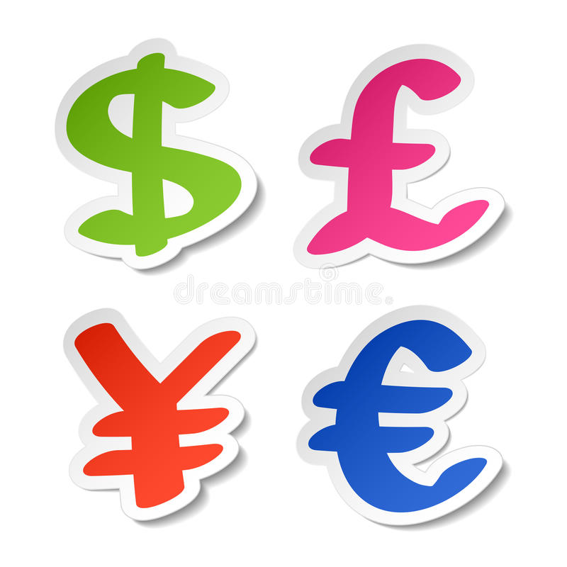 Download Dollar, Euro, Yen And Pound Stickers Stock Vector - Image: 18505337