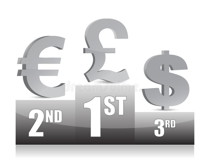 Dollar, Euro and Yen signs on Podium royalty free illustration
