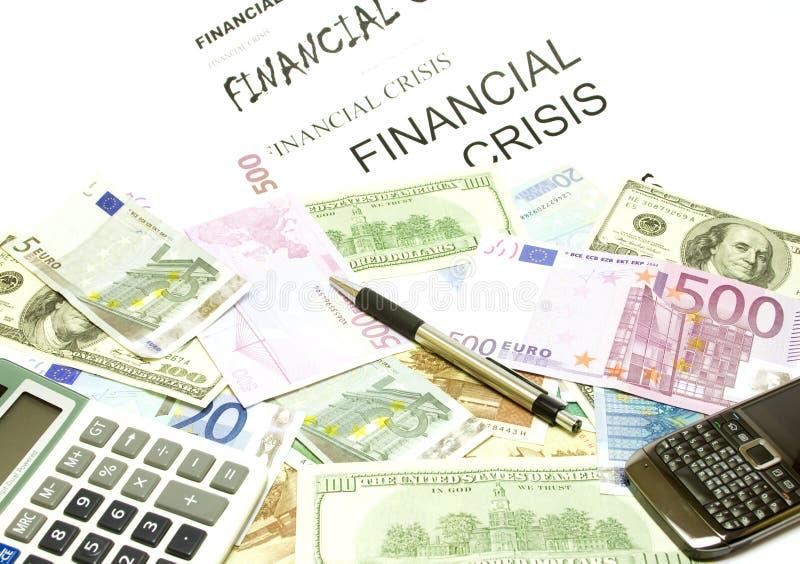 Dollar, Eurobanknoten, Rechner, Feder, Mobiltelefon stockbild