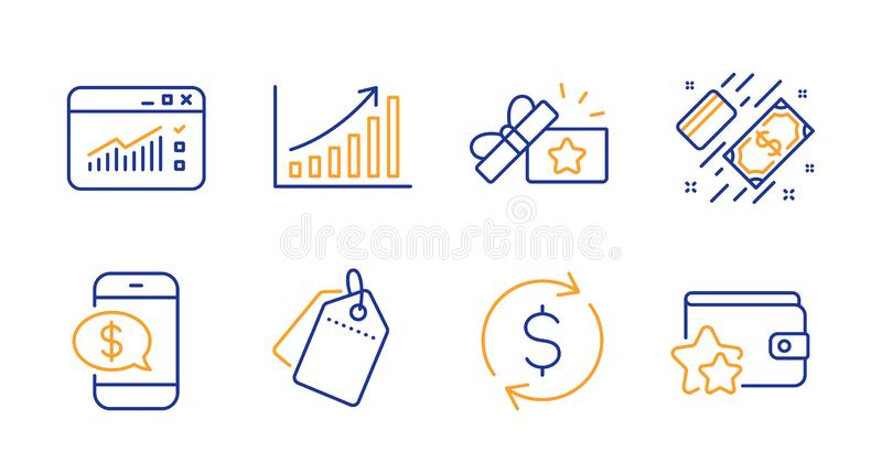 Dollar exchange, Loyalty gift and Payment icons set. Graph chart, Phone payment and Web traffic signs. Vector. Dollar exchange, Loyalty gift and Payment line royalty free illustration
