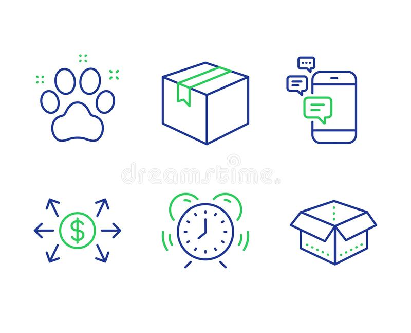 Dollar exchange, Parcel and Communication icons set. Time management, Pet friendly and Open box signs. Vector. Dollar exchange, Parcel and Communication line stock illustration