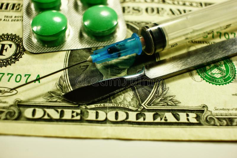 Dollar , expenditure on health or financial assistance, high cost of expensive drug concept. Economic forecast of the dollar rate in the world market stock images