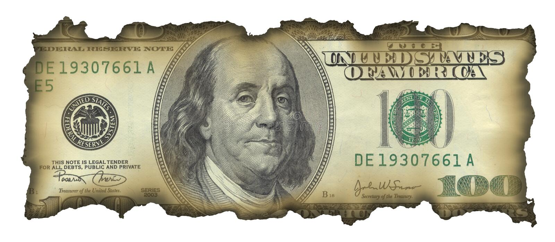 dollar för 100 bill arkivbild