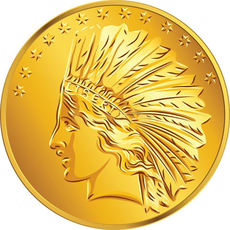 Dollar för guld- mynt för pengar för vektor amerikansk royaltyfri illustrationer
