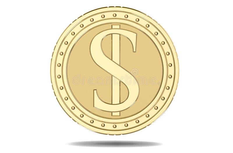 Dollar för guld- mynt, med en bild av en dollarhög 3D framför, isolerat på vit bakgrund vektor illustrationer