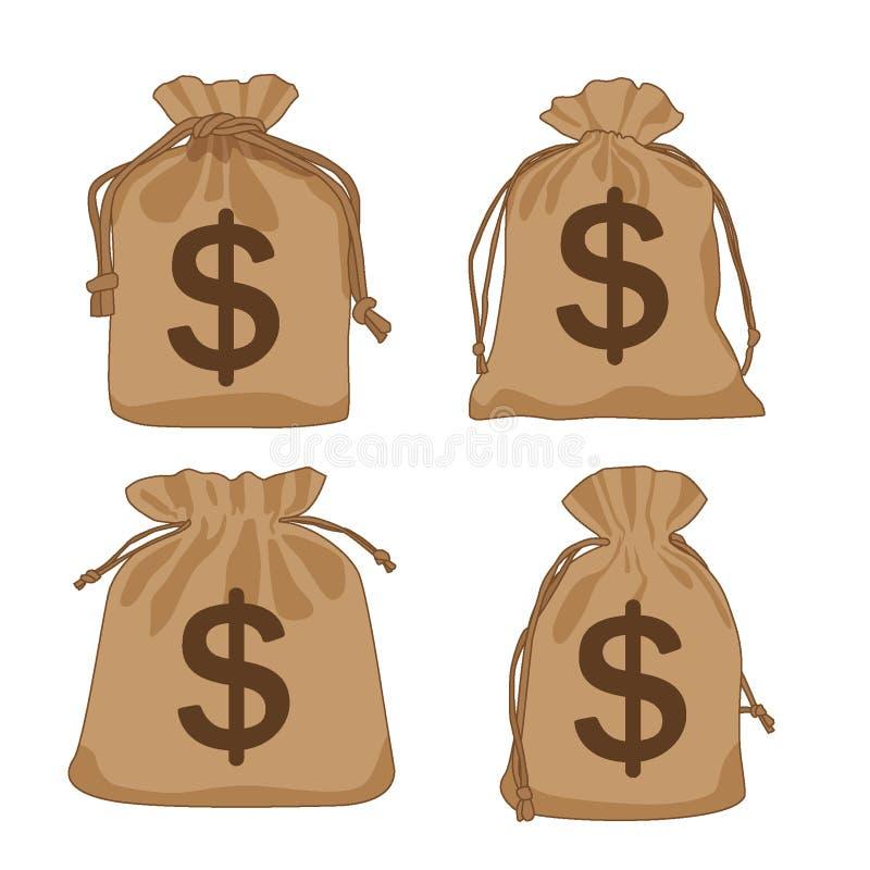 Dollar för pengarpåsebrunt och van vid dekorerar stock illustrationer