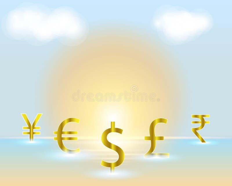 Dollar för valutasymbol, euro, indisk rupie, brittiskt pund, kines vektor illustrationer