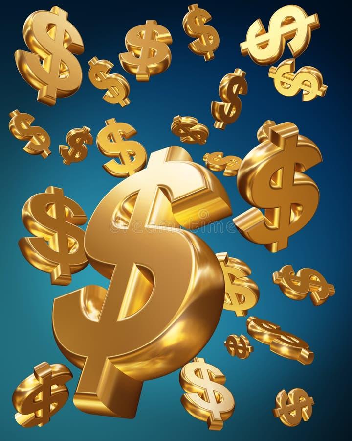 dollar falla som är guld- stock illustrationer