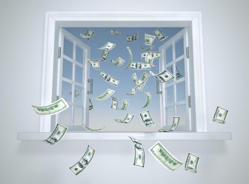 dollar fallande fönster stock illustrationer