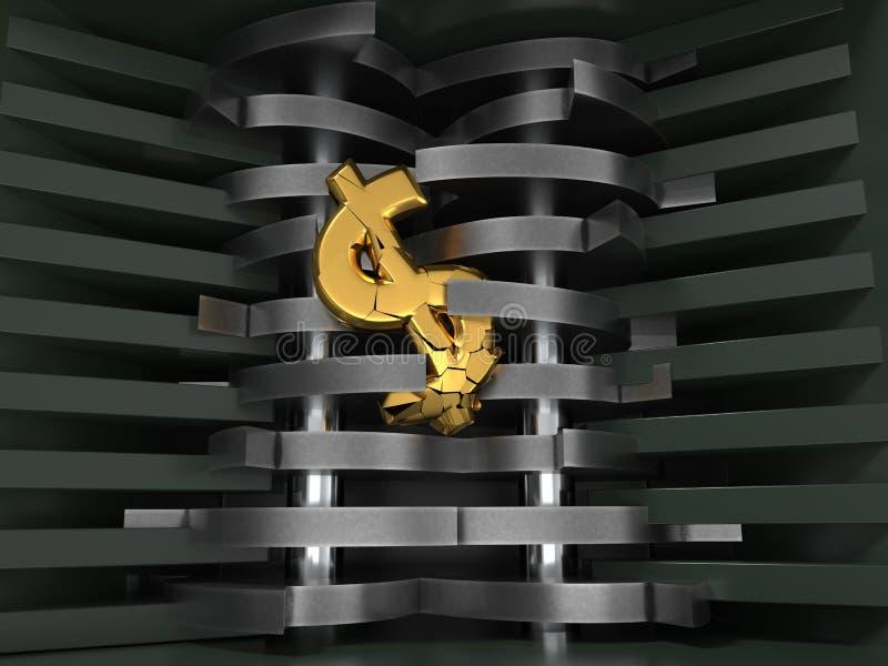 Dollar fallen gelassen in Reißwolf Mieten legten digital Bild fest Abbildung 3D lizenzfreie abbildung
