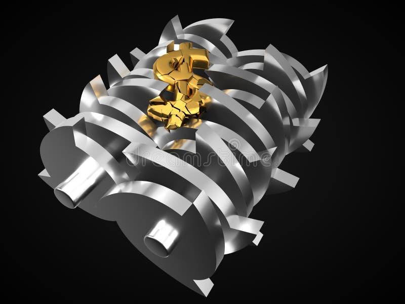 Dollar fallen gelassen in Reißwolf Mieten legten digital Bild fest Abbildung 3D vektor abbildung