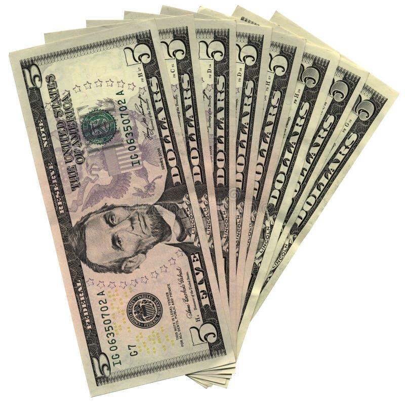 dollar fem isolerade ny stapelbesparingsrikedom royaltyfria bilder