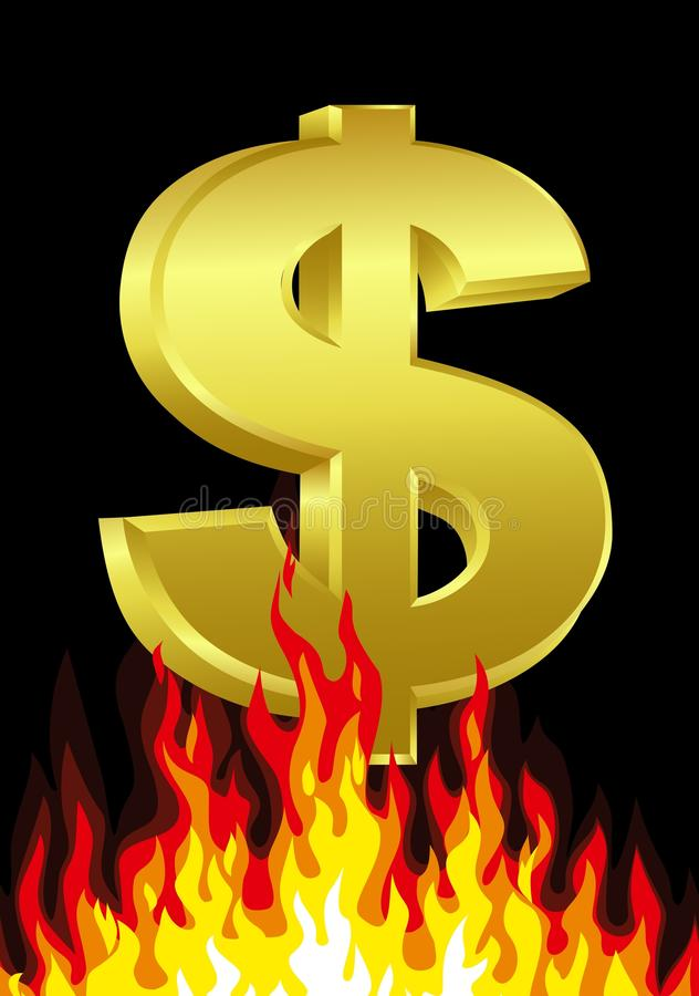 Download Dollar On Fire Royalty Free Stock Photography - Image: 23264397