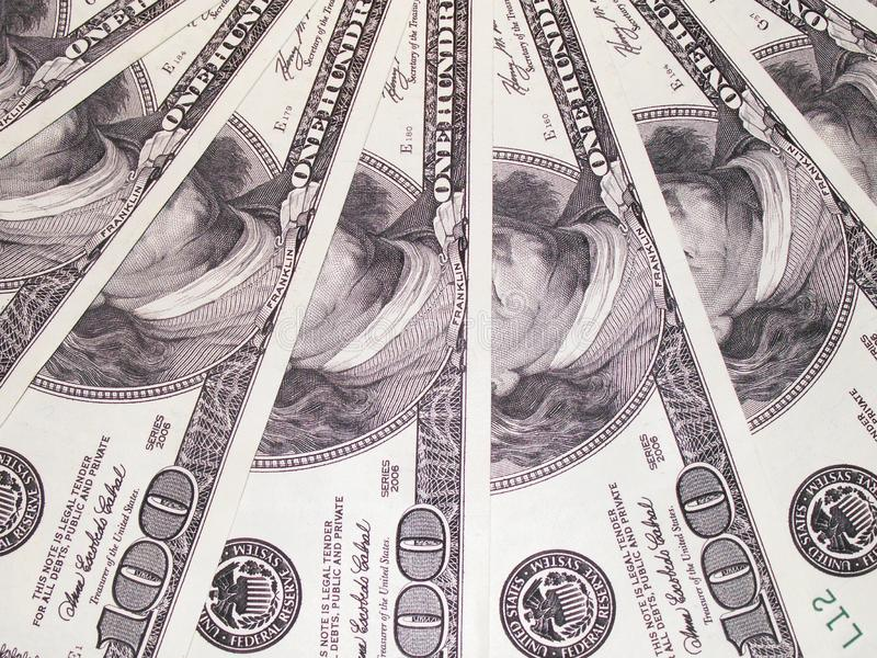 Dollar fläktade textur tätt arkivbilder