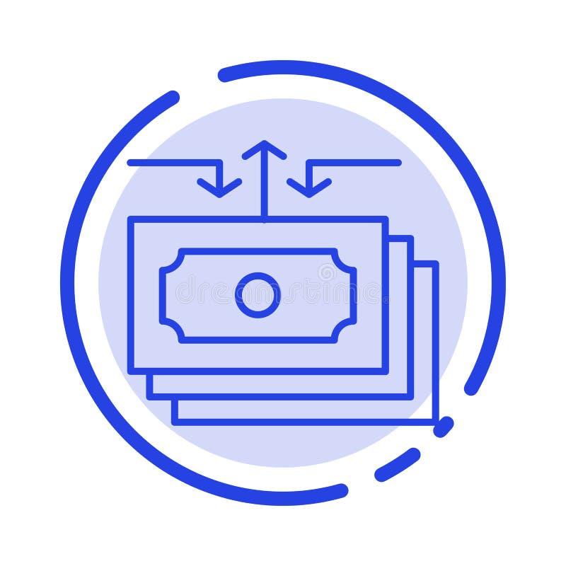 Dollar flöde, pengar, kassa, blå prickig linje linje symbol för rapport royaltyfri illustrationer