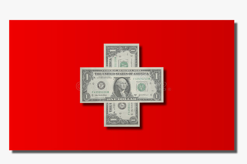 dollar flaggaschweizare royaltyfri illustrationer