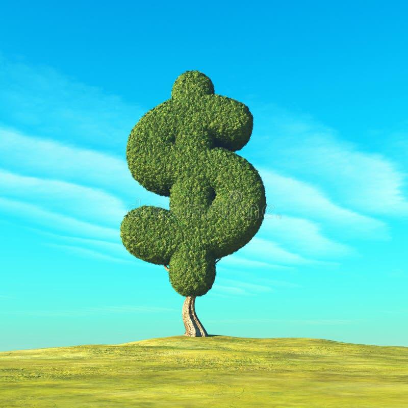 Dollar format träd royaltyfri illustrationer