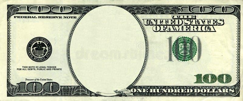 Dollar frame. One hundred dollar empty frame isolated on white royalty free stock photography