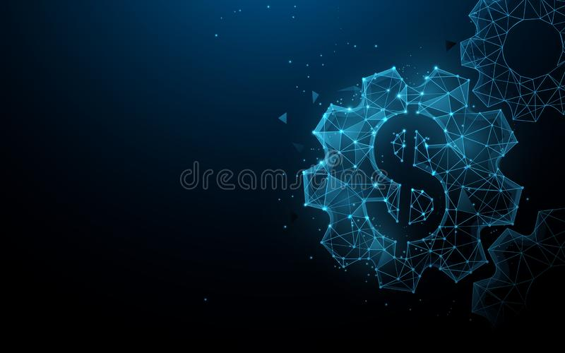 Dollar with gears from lines, triangles and particle style design. Business and Financial system concept stock illustration