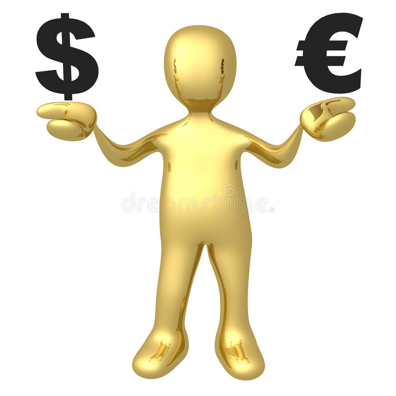 Dollar gegen Euro stock abbildung