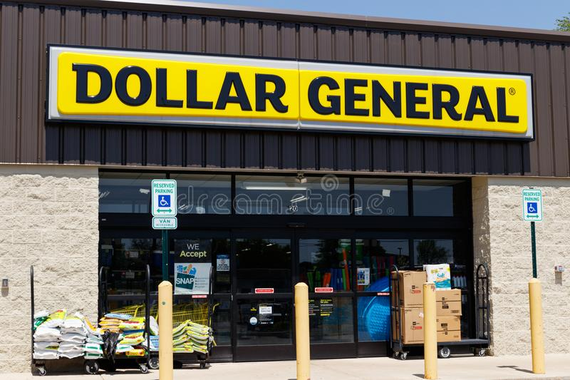 Peru - Circa May 2018: Dollar General Retail Location. Dollar General is a Small-Box Discount Retailer I. Dollar General Retail Location. Dollar General is a royalty free stock images