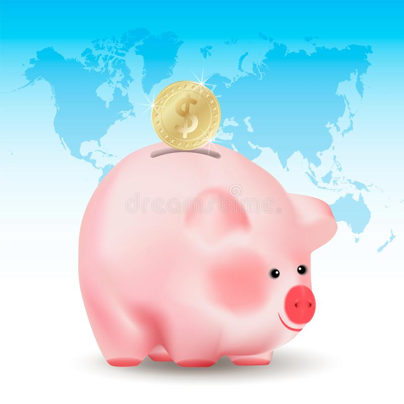 Dollar golden coin falling into money pig bank. Conceptual realistic vector illustration on blue background with world map. vector illustration