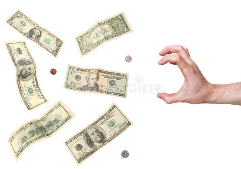 dollar grabhand till royaltyfri fotografi